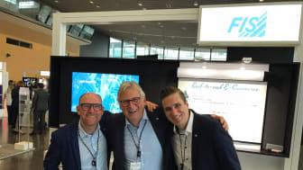 Michal Illig, Stefan Hinterwälder und Stefan Seufert vom Messeteam der FIS auf dem SAP-Forum für den Handel 2019. Foto: FIS