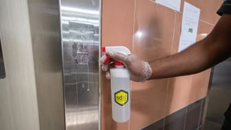 The sdst self-disinfecting coating will protect the lift buttons from viruses, bacteria and fungi for 3 months