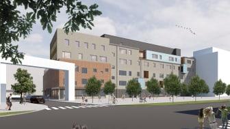 En ny grundskola och förskola byggs i Varvsstaden. Illustration: Sydark Konstruera