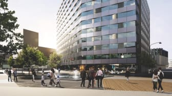 BAU: Arkitektbild av det kommande hotellet på Arlanda som färdigställs i slutet av 2019.