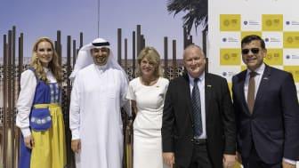 From Left: Soprano singer Hannah Holgersson, Najeeb Mohammed Al-Ali, Executive Director, Expo 2020 Dubai Bureau, Minister for Foreign Trade Anna Hallberg, Commissioner General Anders Lönnberg and H.E. Ambassador Henrik Landerholm