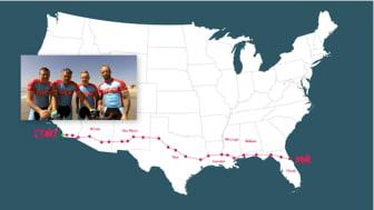 Halva sträckan avklarad för våra cykelhjältar Måns Möller & Co  i Usa, allt för Insamlingsstiftelsen idrott för Barn i behov