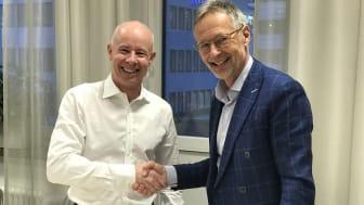 Rickard Westlund, VD LRF Konsult och Håkan Berg, styrelseordförande Lexly, ser stora synergier i samarbetet som förenar digital kompetens och fokus på kundnytta med bred juridisk kompetens i ett stort geografiskt nätverk.