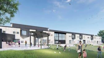 Laröds skola, perspektiv södra skolgården. Bild: House arkitekter