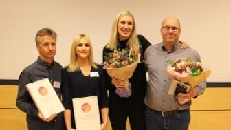 """Medarbetare från BoKlok mottager utmärkelsen """"Årets nöjdaste kunder"""", 2017."""