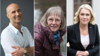 Mark Levengood, Ulla Lantz (anhörig) och socialminister Lena Hallengren medverkar på webbinariet. Foton: Stellan Herner, Privat, Regeringskansliet