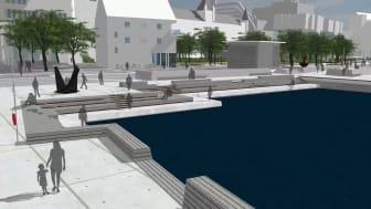 Möjlig framtid. Ta en virtuell promenad längs kajerna och i de planerade kvarteren.