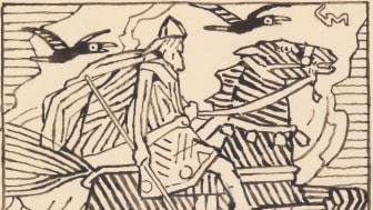 "Makt og magi. Odin, forarbeid  til vignetten til ""Harald Hårfagres saga"" i Snorre Sturlason, Kongesagaer, 1899, Kristiania."