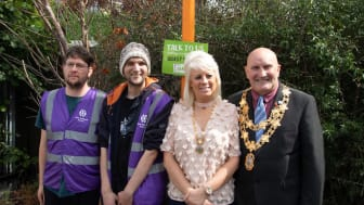 Bedworth station adopter Stuart Anderson and his team meet with Mayor of Nuneaton and Bedworth, Chris Watkins and Lady Mayoress, Collette Watkins - photo credit Pete Wrighton
