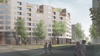 Viktor Hanson tilldelas byggrätten avseende kvarter 6 i detaljplan 4 som rymmer 164 lägenheter samt lokaler för centrumändamål i bottenvåningen och för kontor en trappa upp.