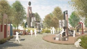 Utflyktslekplatsen i Jubileumsparken ska vara en plats att minnas, som gör avtryck och där det alltid finns mer att upptäcka. Visionsbild: New Order Arkitektur, Patrik Bengtsson och EKTA
