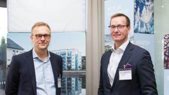Kuvassa Swecon Erik Skogström (vasemmalla) ja Terrafamen Joni Lukkaroinen.