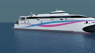 Incat's new wave piercing 'Hull 097' will be powered by four Kongsberg Kamewa S90-4 waterjets