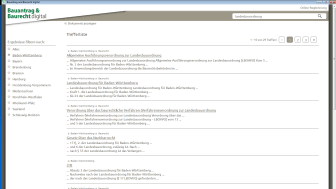Screenshot Suchtreffer / Bauantrag & Baurecht digital