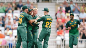 Current NatWest T20 Blast title holders Notts Outlaws celebrate a  wicket in last season's competition