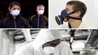Det finns olika varianter av andningsskydd. Lär dig vilka de är och hur länge de kan användas.
