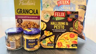 Paulúns granola, Abbas sill, Felix Rösti och vissa av Felix pajer är några av produkterna som fått den nya klimatmärkningen.