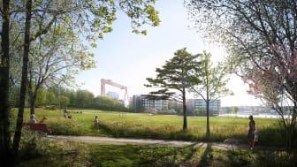 Naturlika plantering med gläntor för lek och picknick, med utsikt över en evenemangsyta, skapas nu i Färjenäsparken.