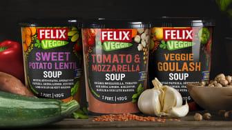 En tomat- och mozzarellasoppa, en vegansk gulasch och en sötpotatis- och linssoppa tar nu plats i den vegetariska familjen från Felix