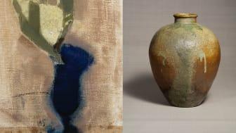 Helene Schjerfbeck, Konvaljer i blått glas I (den sneda vasen), 1920. Bild beskuren. Bild: Finlands nationalgalleri / Hannu Aaltonen. Kruka, Tamba-keramik, 1500-tal. Bild: © Japan Folk Crafts Museum, Tokyo