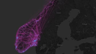 Pattern of movements across Norway one day during July.