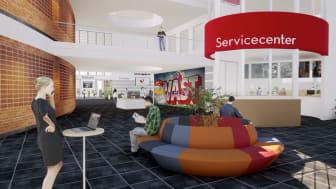 Bild från Virtual Campus - en helt virtuell värld i 3D av högskolans campus.
