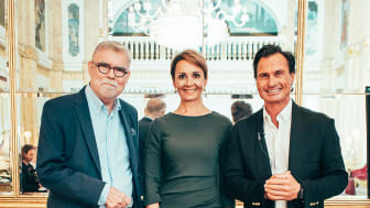 Nya och gamla ägare (Från vänster: Ari Tolppanen, styrelseordförande CapMan, Laura Tarkka, CEO Kämp Collection Hotels och Nordic Choice Hotels grundare Petter Stordalen