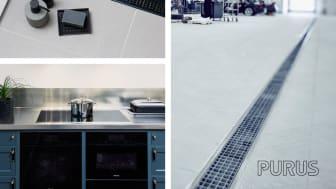 Purus designbrunnar, rostfria diskbänkar och industrirännor!