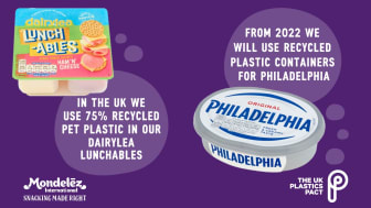 World's most popular cream cheese plans to utilise recycled plastic containers starting in 2022, using recycled material from innovative advanced recycling technology