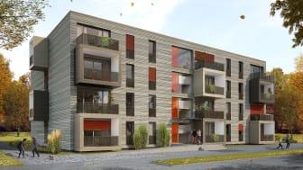 Das serielle Baukonzept OPTIMUS setzt auf fertig Modul-Bauteile. Moderne Architektur und große Fensterflächen schaffen eine angenehme Wohnatmosphäre. Copyright / Visualisierung: Architekturbüro Hullak Rannow