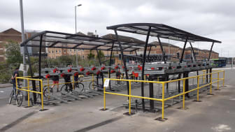 Luton station cycle parking: west side