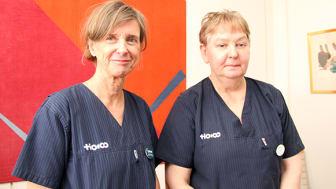 Barnmorskorna Katarina Norberg (t v) och Ingrid Blomstergren, tror att satsningen på eftervård ger större trygghet.