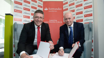 L-R Matt Hutnell, Director of Santander Universities UK with Professor Andrew Wathey CBE, Chief Executive and Vice-Chancellor for Northumbria