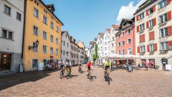 Radfahrer in Chur, Graubünden (c) Graubünden Ferien