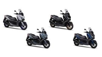 「XMAX ABS」(左より)マットグレー、グレー、マットダークグレー、マットブルー