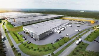 Logistikparken i Airport City Göteborg omfattar tre alternativt fyra byggnader beroende på konfiguration med en total uthyrningsbar yta om 100 000 kvadratmeter. Arkitekterna Krook & Tjäder.
