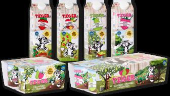 Tigers barnyoghurt - hela sortimentet har nu fått lägre sockerinnehåll och en ny lekfull design.