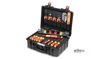 Den robusta elverktygsväskan Basic Set L från Wiha innehåller en basutrustning av högkvalitativa handverktyg för mobil användning. Foto: Wiha Werkzeuge GmbH