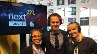Programledarna Simone Westerberg (COO GroupM), Martin Hugosson (CEO GroupM), och Clara Grelsson (CEO Mindshare)