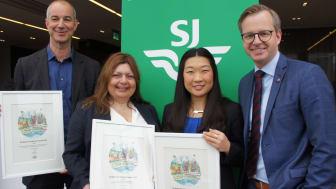Närings- och innovationsminister Mikael Damberg delade ut SJs miljödiplom