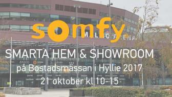 Somfy Sweden AB ställer ut på Bostadsmässan i Hyllie den 21 oktober 2017