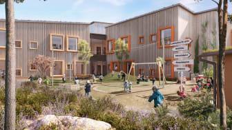 3D-visualisering av förskolan Hoppet: LINK arkitektur