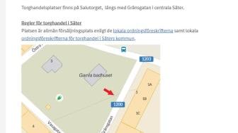 Karta över Salutorget/Gränsgatan där torghandelsplatserna finns.