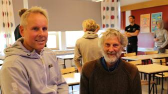 Lars Wahlqvist (lärare/tränare på Katedralskolan) och H-C Holmberg