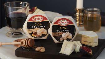Président Le Brie Gourmet finns med två olika fyllningar; tryffelsmör gjord på sommartryffel, samt mandel och honung.