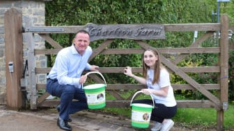 General Manager of Longleat Forest, Andy De'Ath, and his daughter Ellie, who did a tandem skydive to raise money for Together for Short Lives and Children's Hospice South West