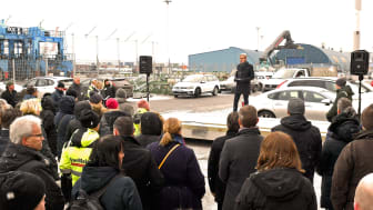 Gothenburg Port Authority Chief Executive Magnus Kårestedt held one of the official opening speeches. Photo: Port of Gothenburg.