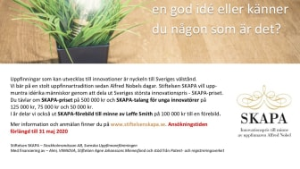 SKAPA förlänger ansökningstiden till 31/5 - sök uppfinnar- och innovatörsstipendium nu!