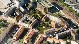 MKB, HSB och Hub Park ska tillsammans utveckla Nya Ellstorp. Kvarter 1 och 5: MKB, kvarter 2 och 4: HSB, kvarter 3 och 6: Hub Park.