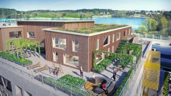 De två översta våningarna på kontorsbyggnaden är helt i trä. Bild: Vasakronan/Sweco.